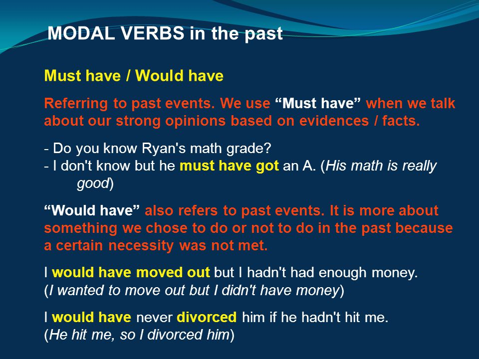 MODAL VERBS in the past Must have / Would have