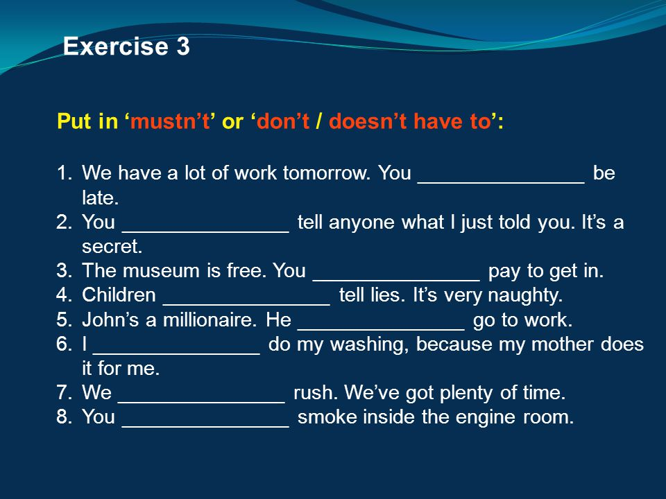 Exercise 3 Put in 'mustn't' or 'don't / doesn't have to':
