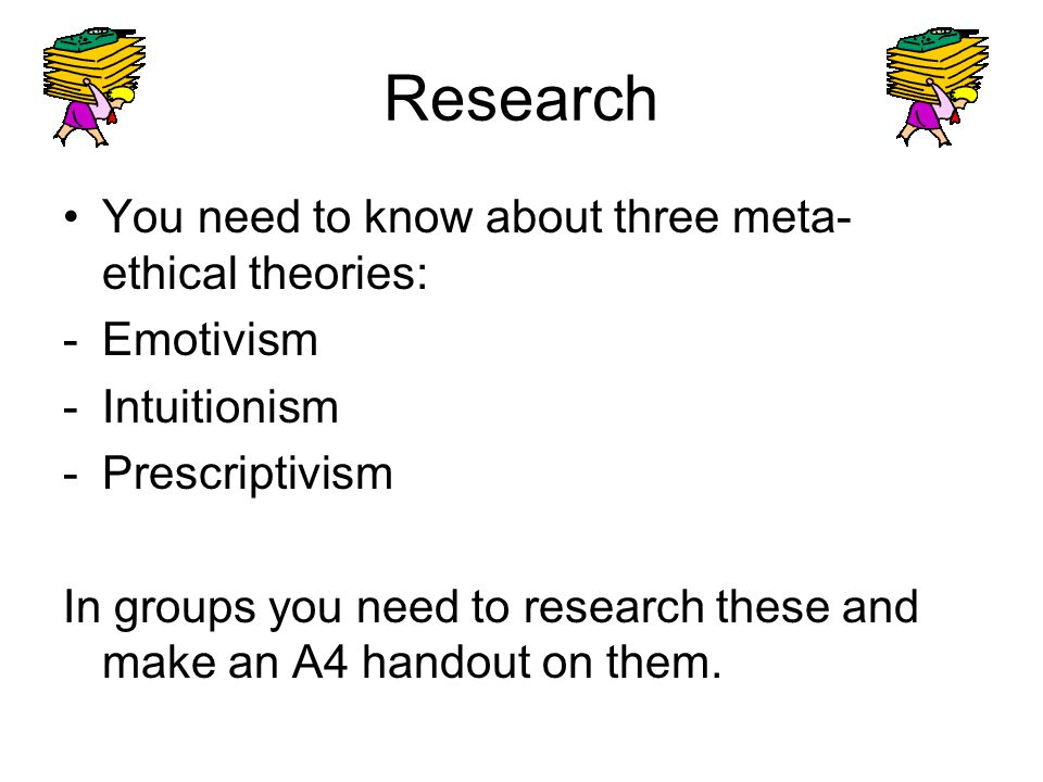 Research You need to know about three meta-ethical theories: Emotivism