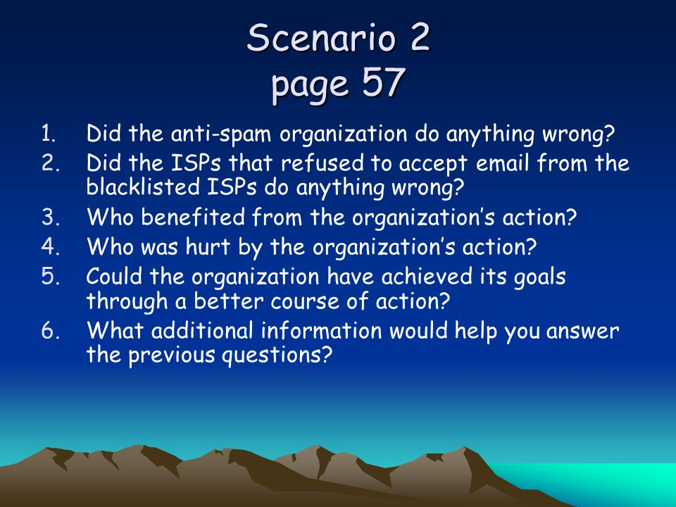 Scenario 2 page 57 Did the anti-spam organization do anything wrong