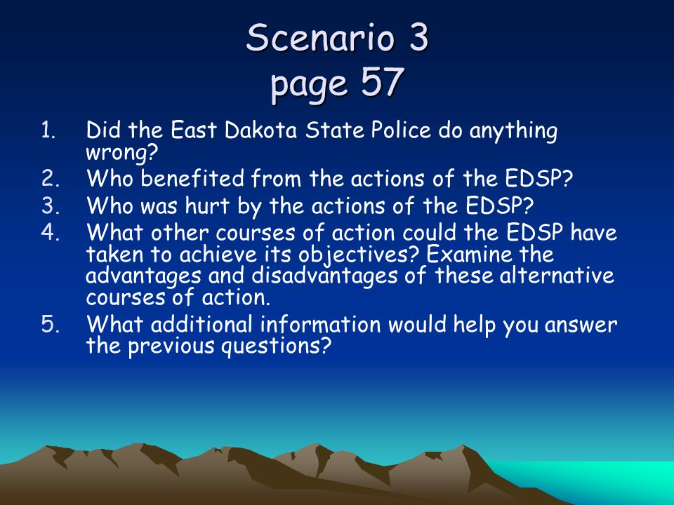 Scenario 3 page 57 Did the East Dakota State Police do anything wrong