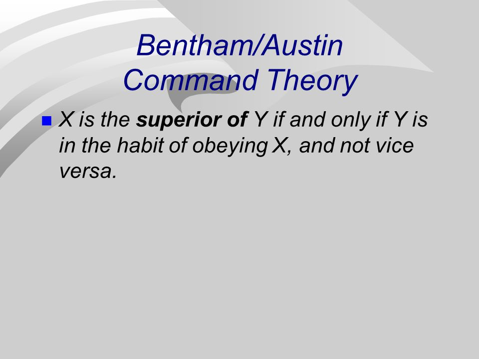 Bentham/Austin Command Theory