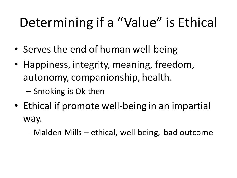 Determining if a Value is Ethical