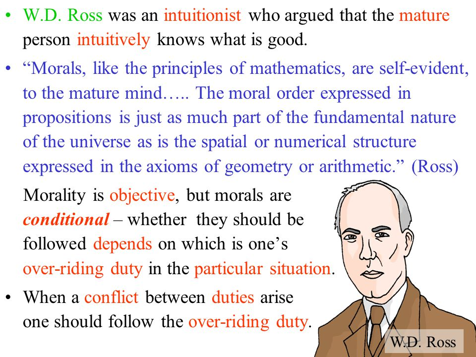 W.D. Ross was an intuitionist who argued that the mature person intuitively knows what is good.