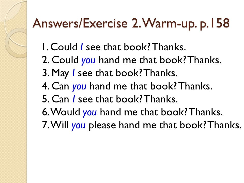 Answers/Exercise 2. Warm-up. p.158