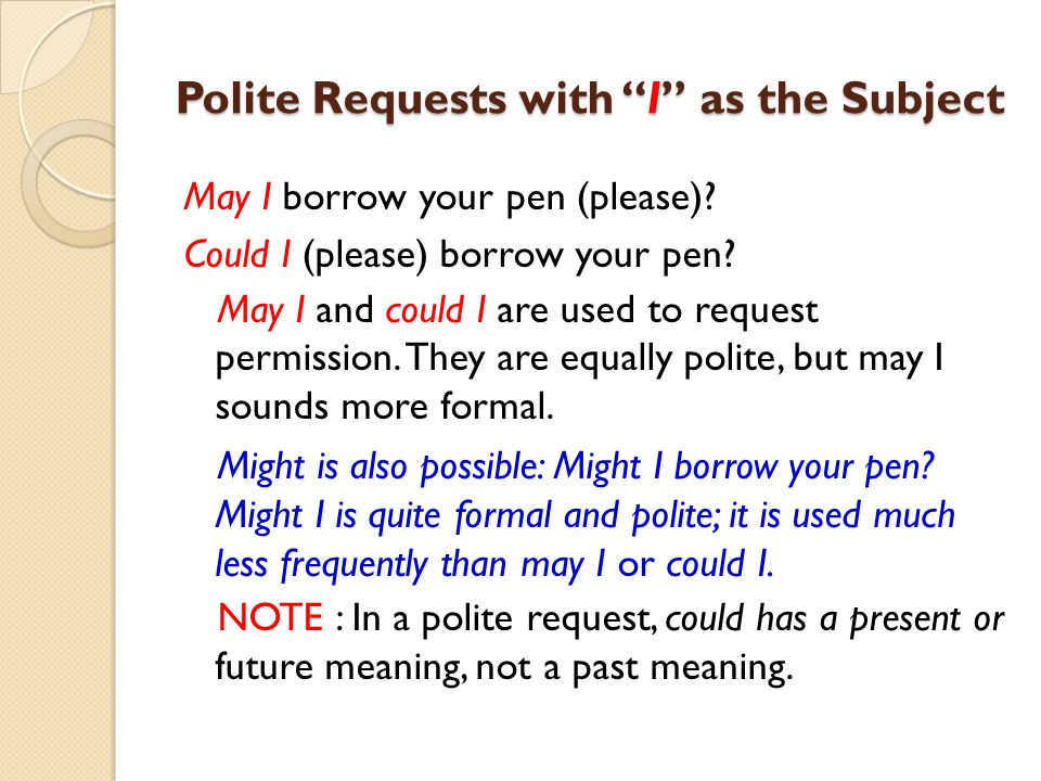 Polite Requests with I as the Subject