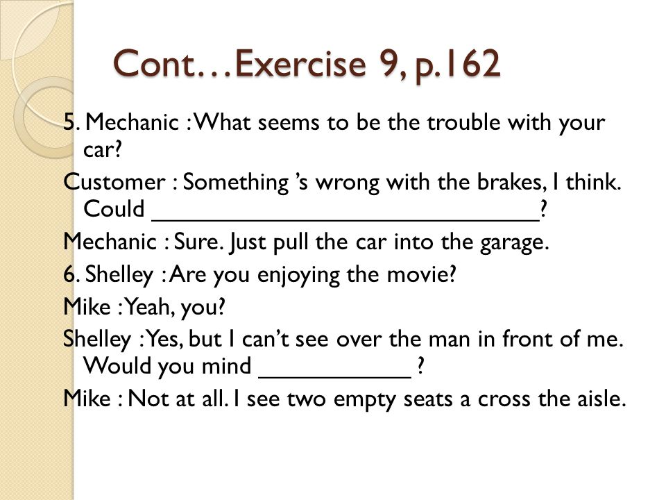 Cont…Exercise 9, p.162