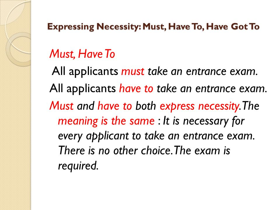 Expressing Necessity: Must, Have To, Have Got To