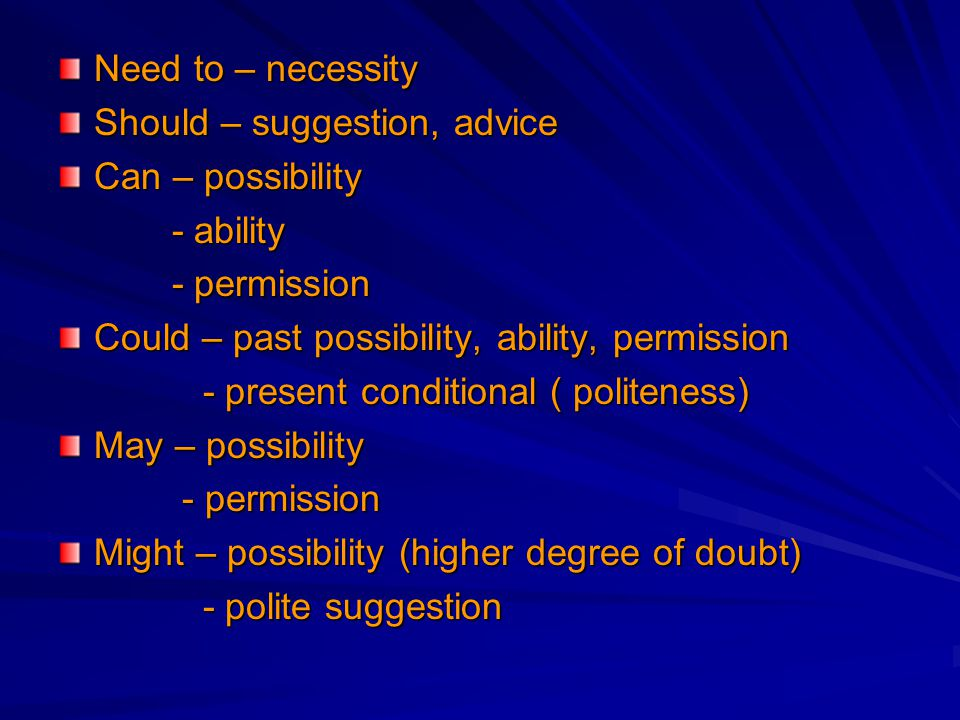 Need to – necessity Should – suggestion, advice. Can – possibility. - ability. - permission. Could – past possibility, ability, permission.