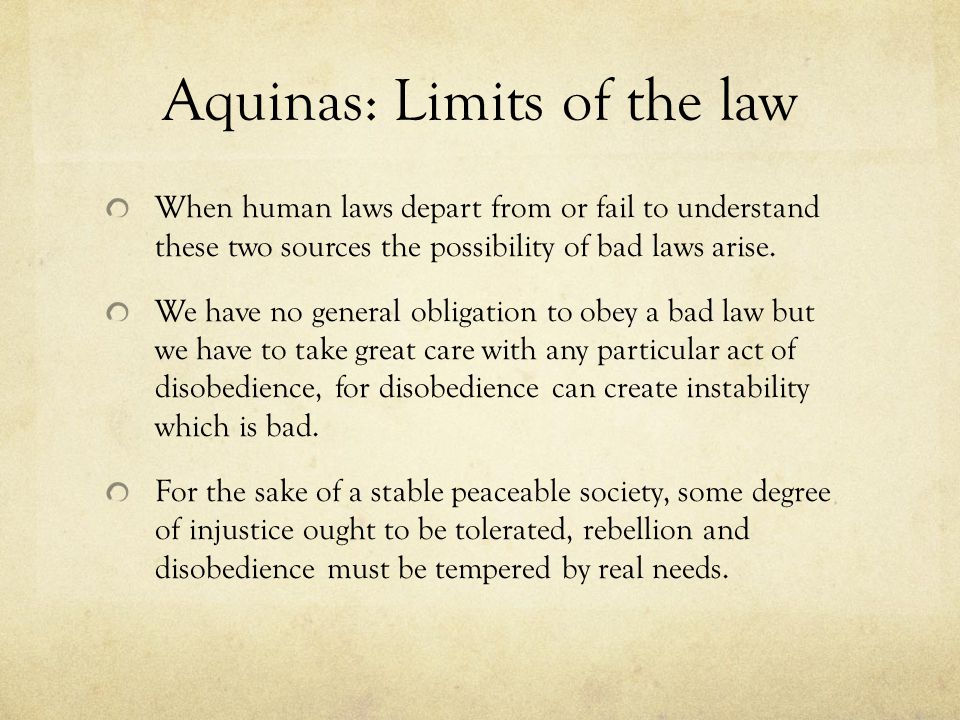 Aquinas: Limits of the law