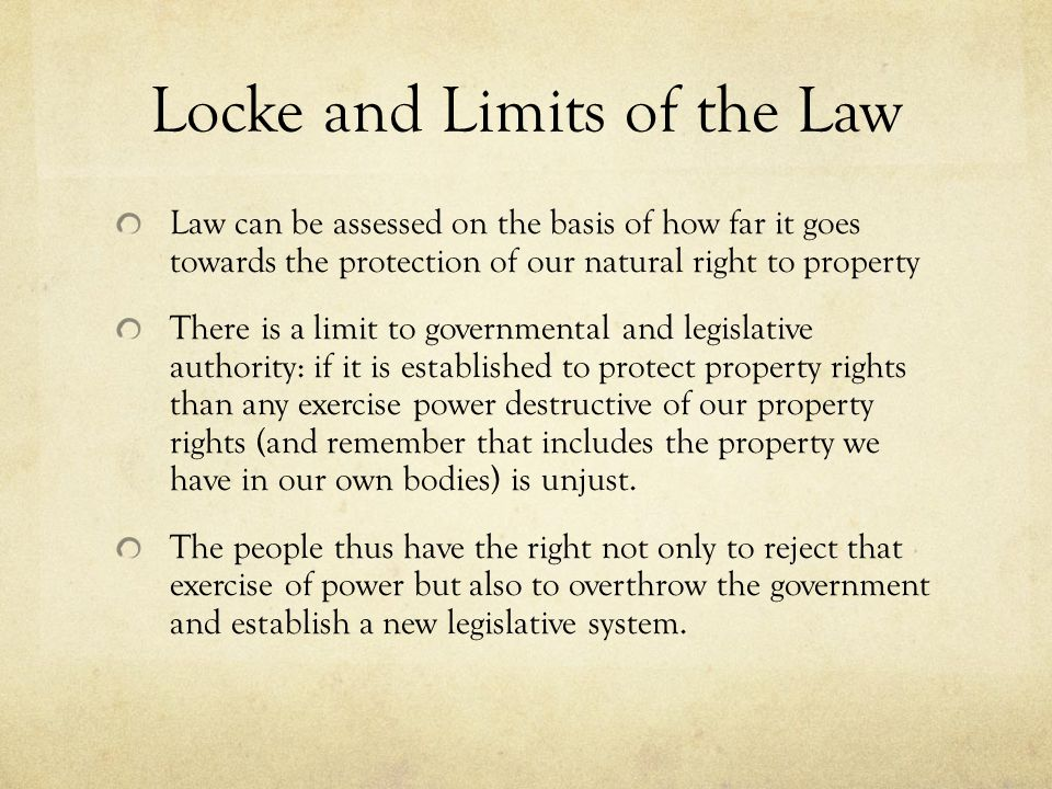 Locke and Limits of the Law