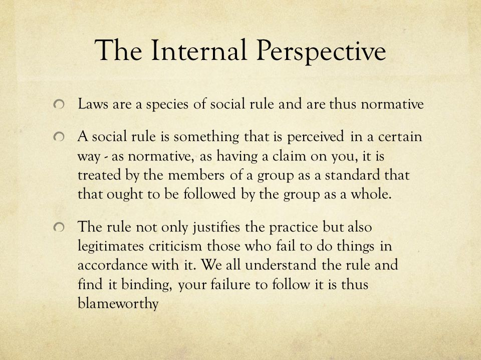 The Internal Perspective