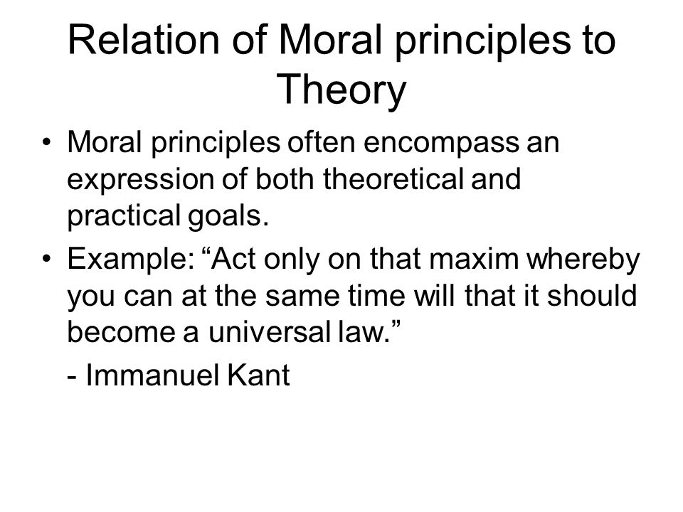 Relation of Moral principles to Theory