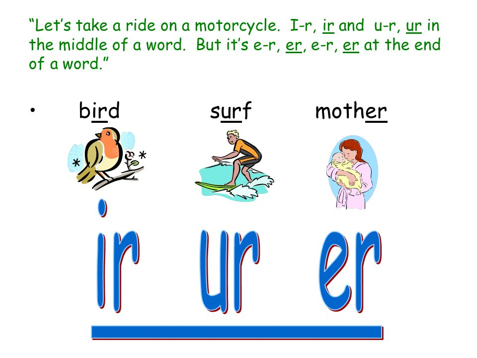 ir ur er bird surf mother