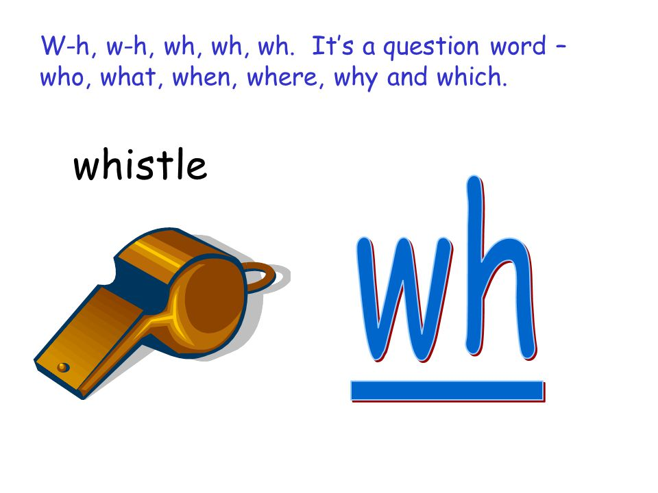W-h, w-h, wh, wh, wh. It's a question word – who, what, when, where, why and which.
