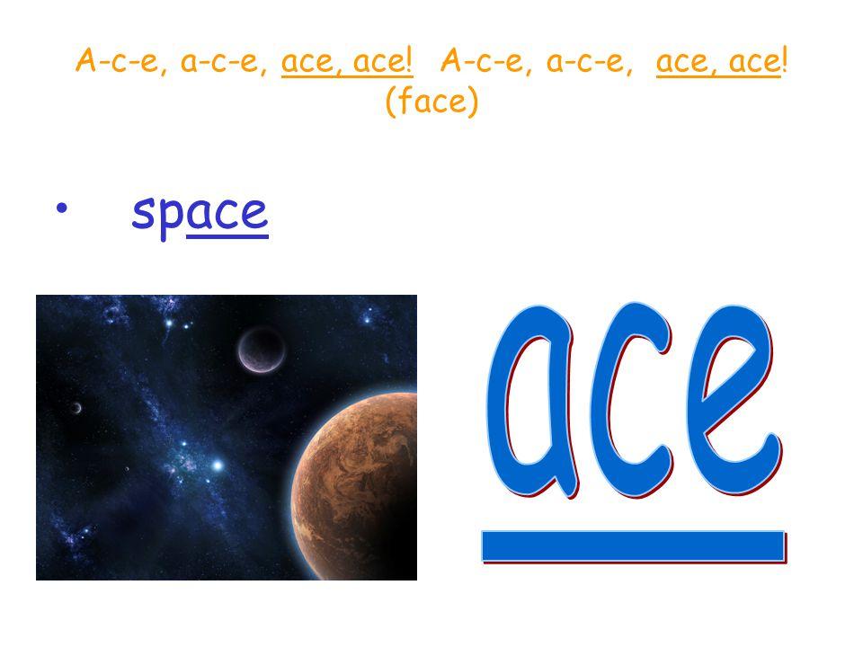 A-c-e, a-c-e, ace, ace! A-c-e, a-c-e, ace, ace! (face)