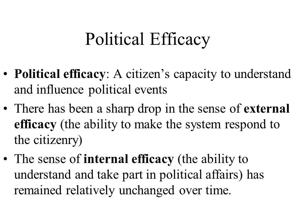 Political Efficacy Political efficacy: A citizen's capacity to understand and influence political events.