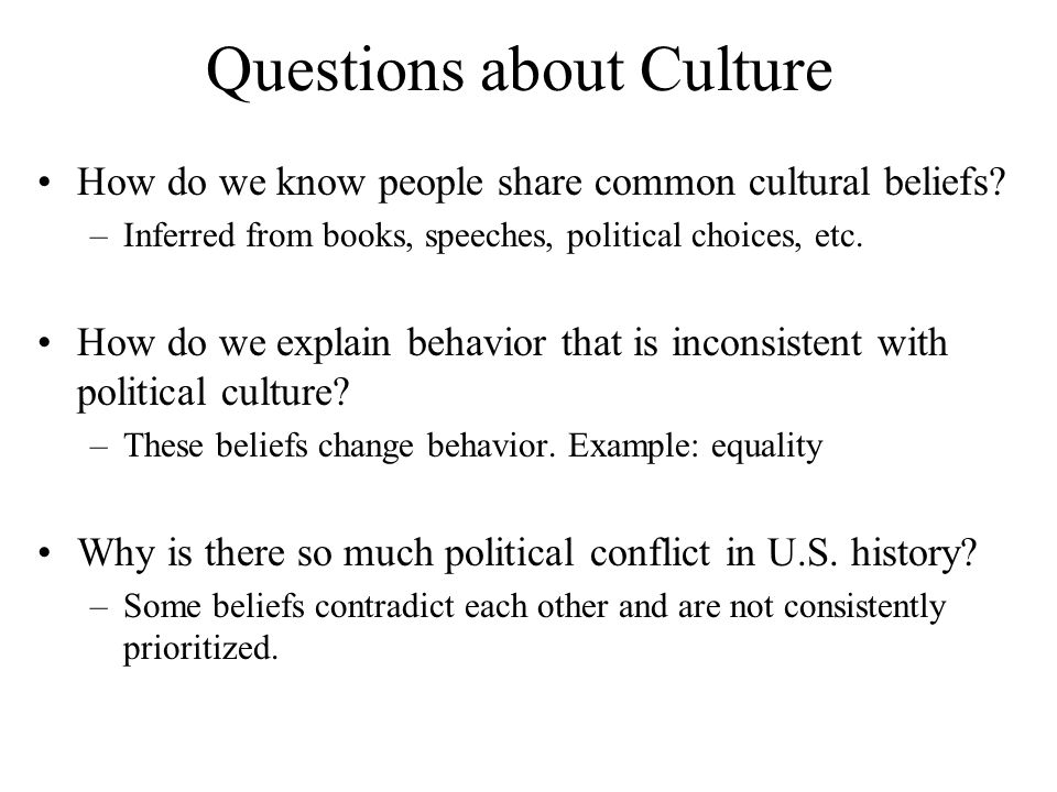 Questions about Culture