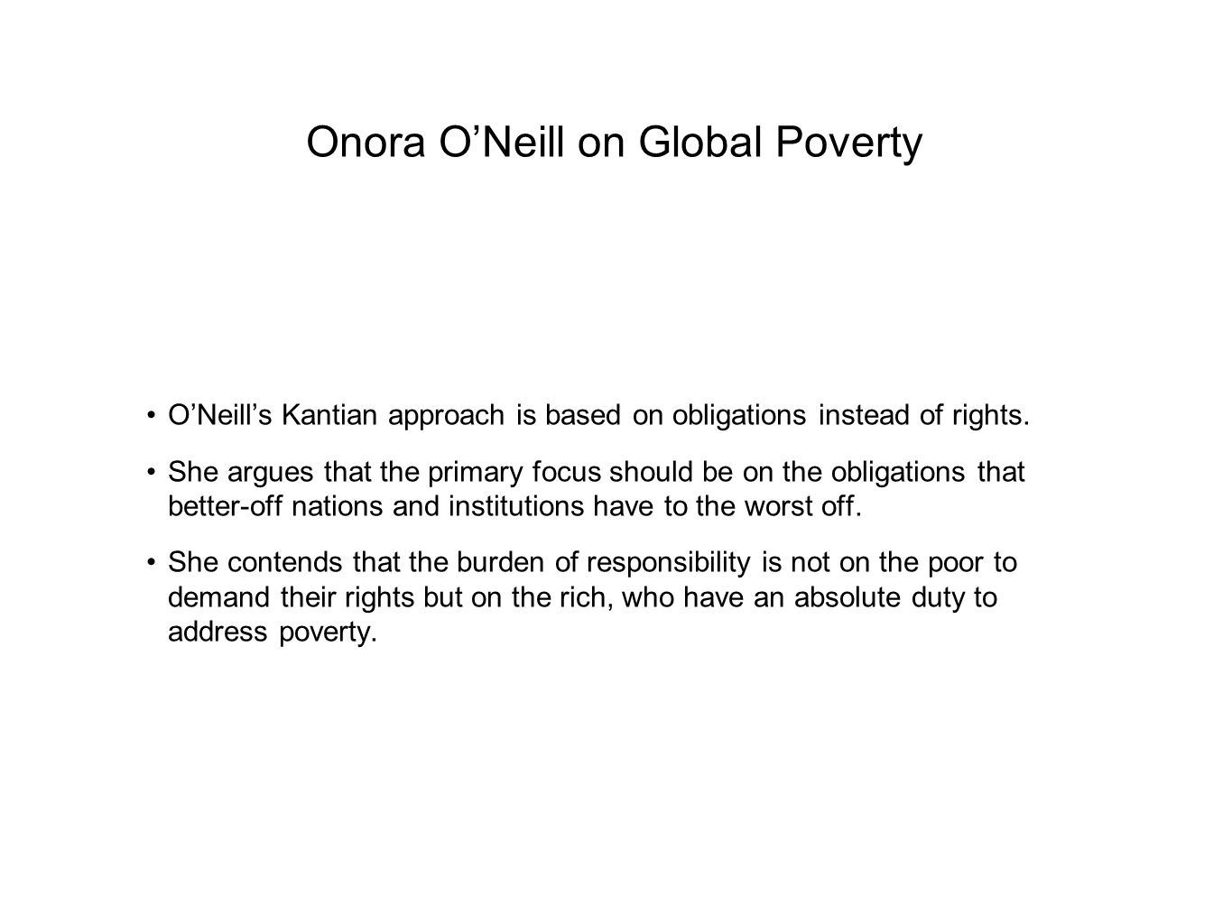 Onora O'Neill on Global Poverty