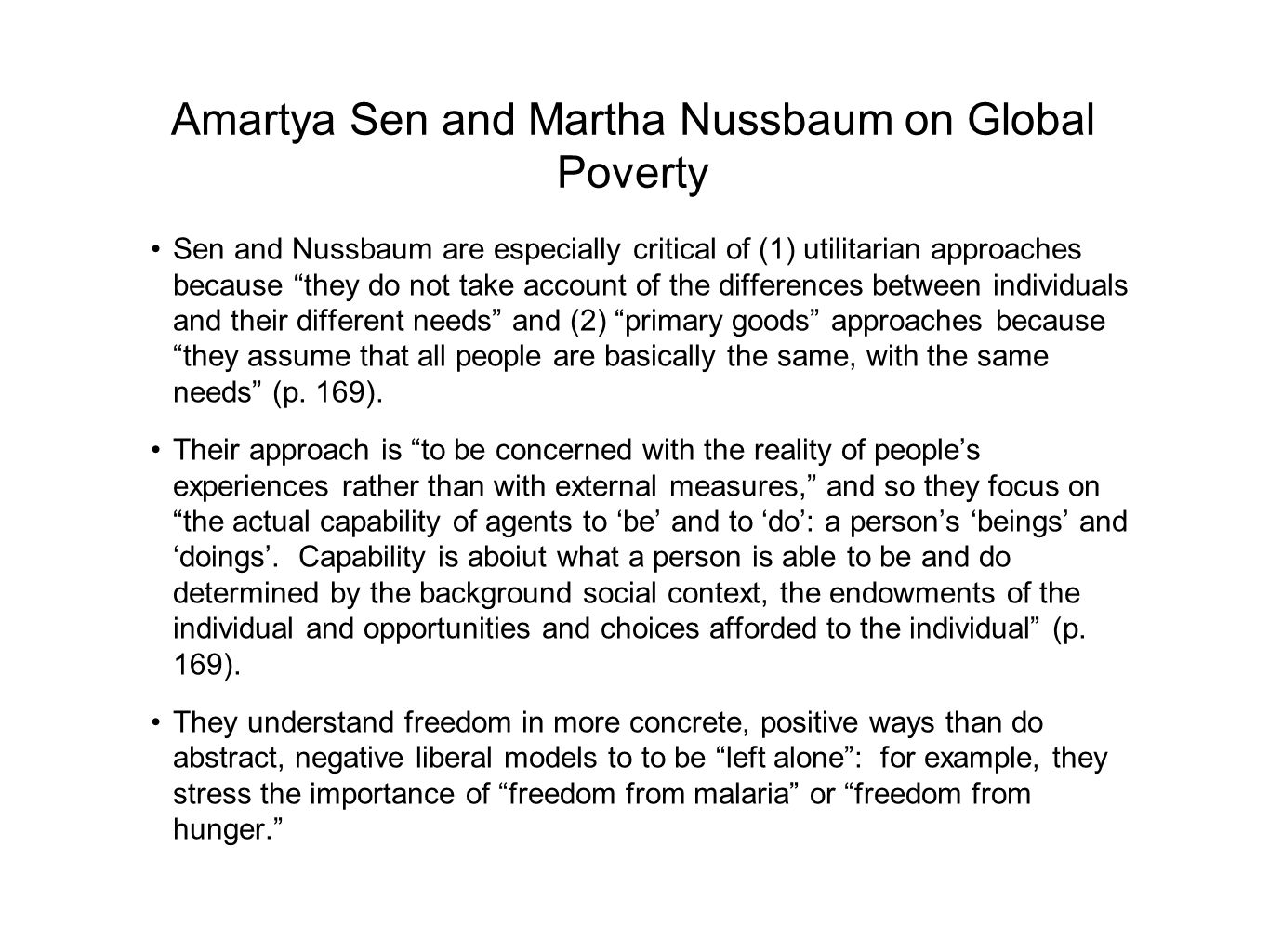 Amartya Sen and Martha Nussbaum on Global Poverty