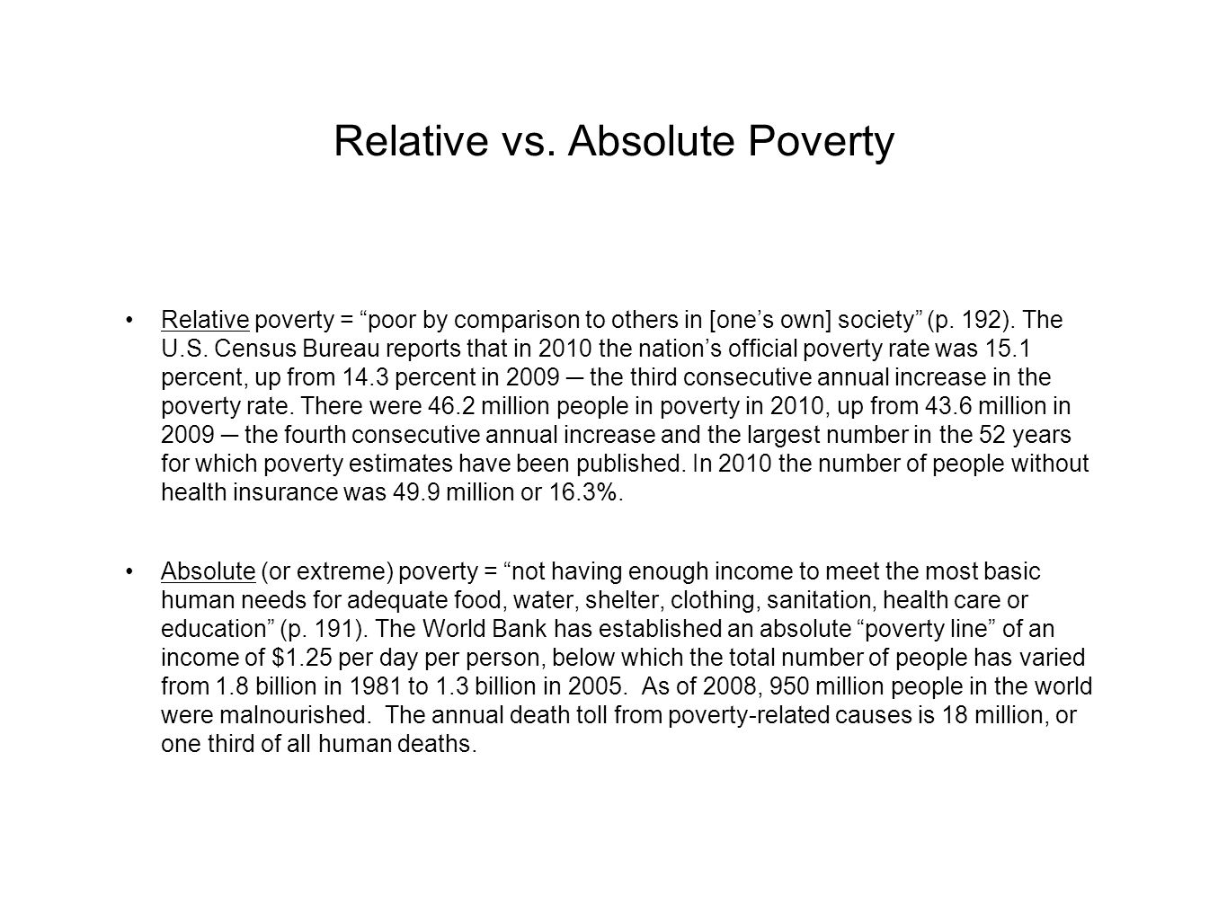 Relative vs. Absolute Poverty