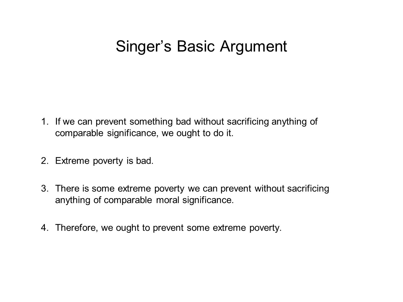 Singer's Basic Argument
