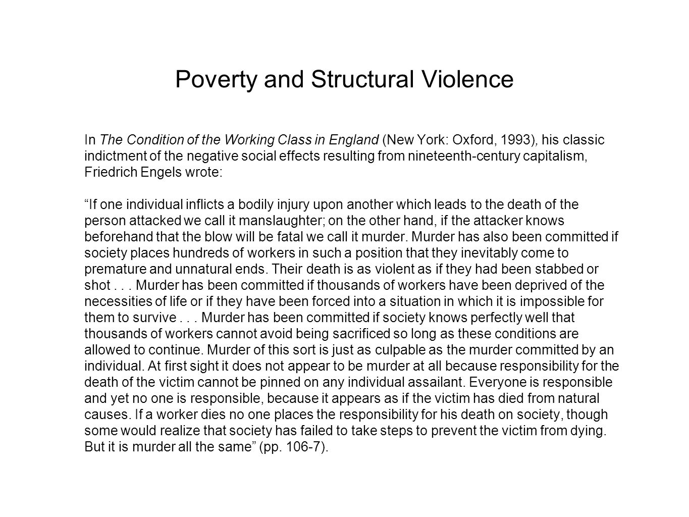 Poverty and Structural Violence