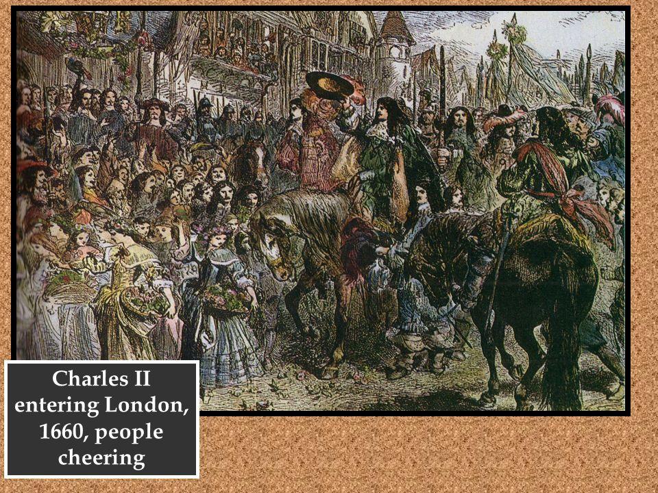 Charles II entering London, 1660, people cheering
