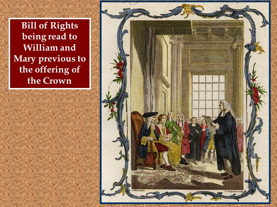 Bill of Rights being read to William and Mary previous to the offering of the Crown