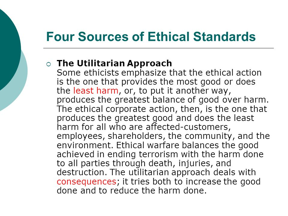 Four Sources of Ethical Standards