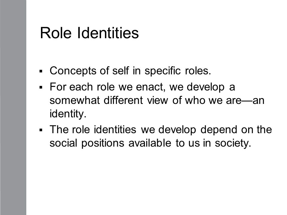 Role Identities Concepts of self in specific roles.