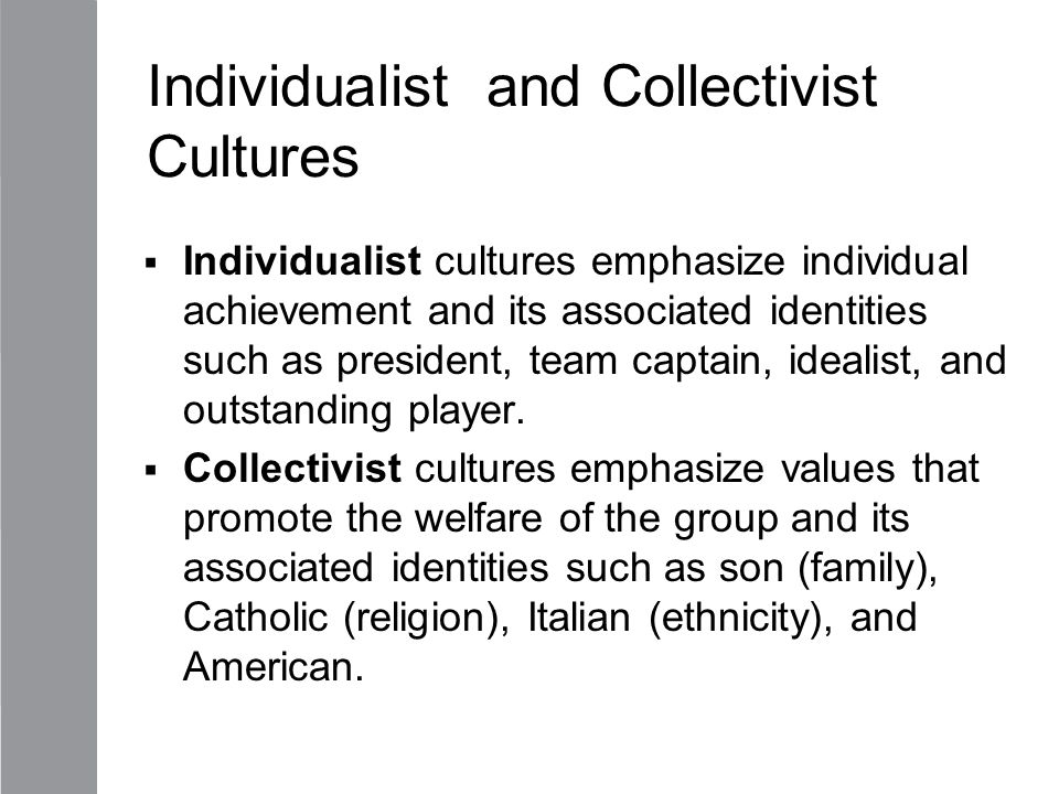 Individualist and Collectivist Cultures