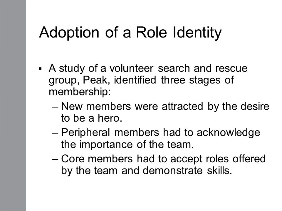 Adoption of a Role Identity
