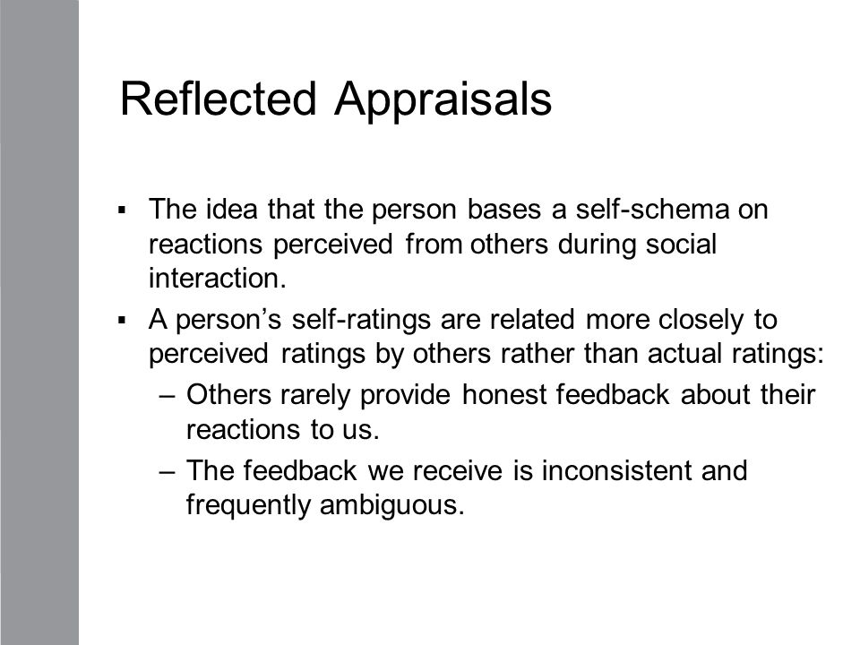 Reflected Appraisals The idea that the person bases a self-schema on reactions perceived from others during social interaction.