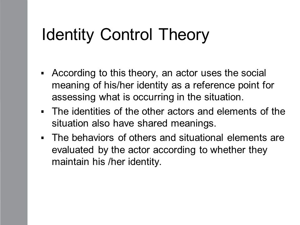 Identity Control Theory