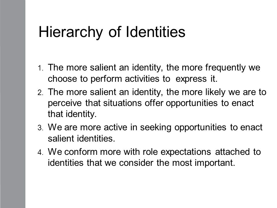 Hierarchy of Identities