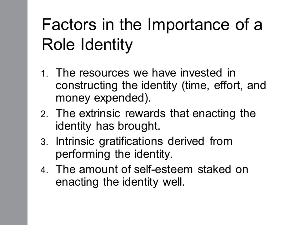 Factors in the Importance of a Role Identity