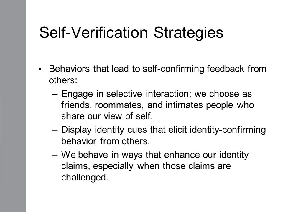 Self-Verification Strategies