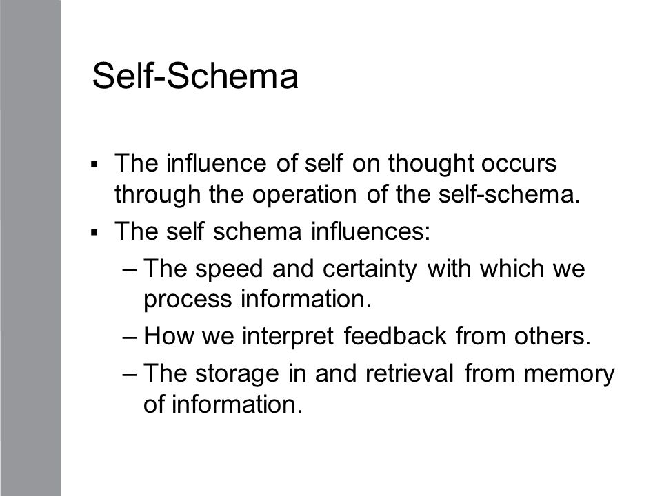 Self-Schema The influence of self on thought occurs through the operation of the self-schema. The self schema influences: