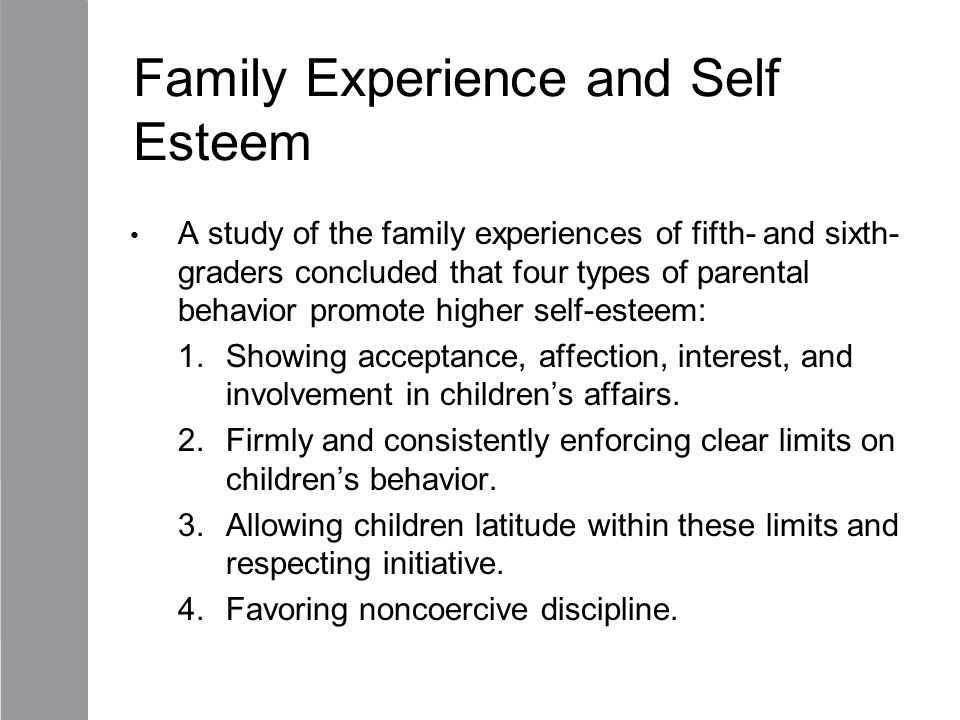 Family Experience and Self Esteem