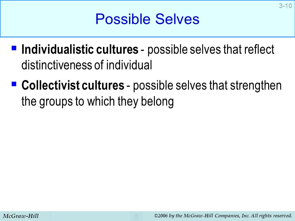 Possible Selves Individualistic cultures - possible selves that reflect distinctiveness of individual.