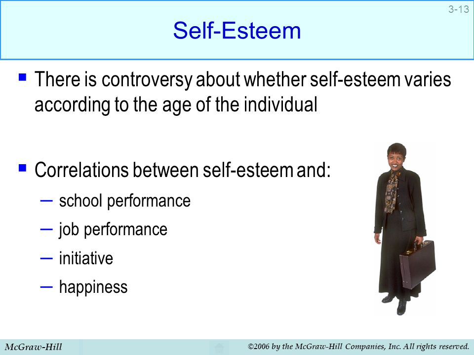 Self-Esteem There is controversy about whether self-esteem varies according to the age of the individual.