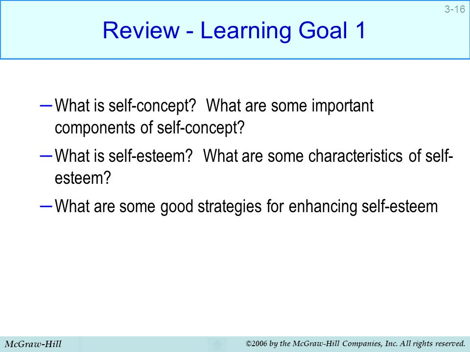 Review - Learning Goal 1 What is self-concept What are some important components of self-concept