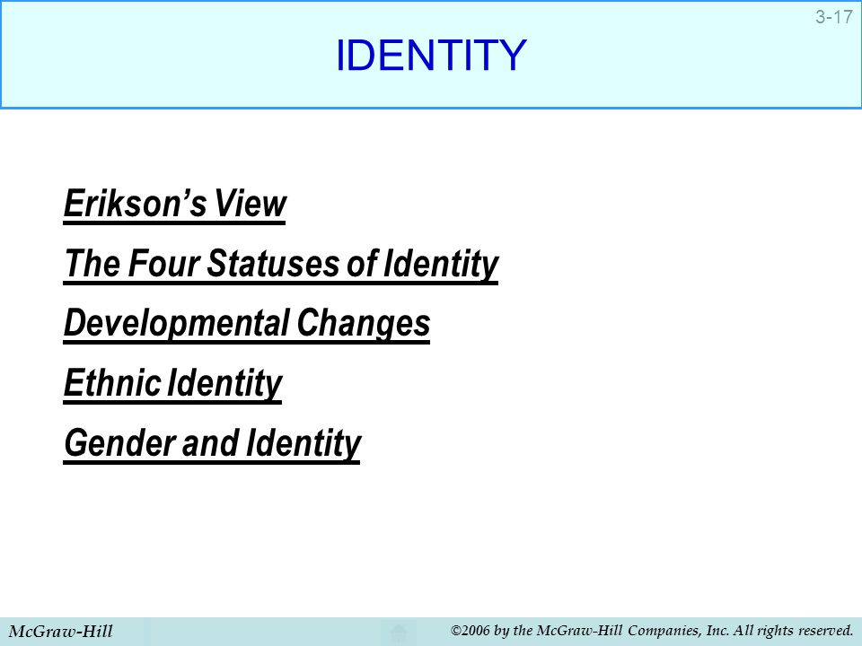 IDENTITY Erikson's View The Four Statuses of Identity