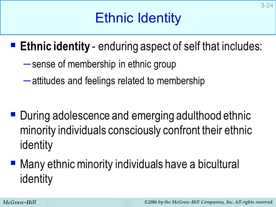 Ethnic Identity Ethnic identity - enduring aspect of self that includes: sense of membership in ethnic group.