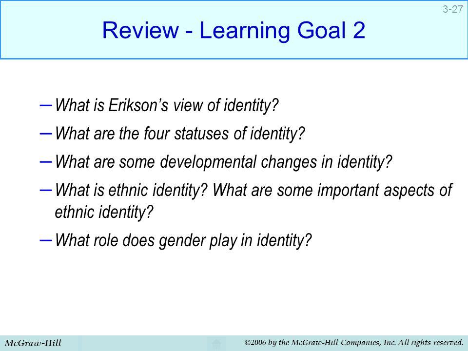 Review - Learning Goal 2 What is Erikson's view of identity