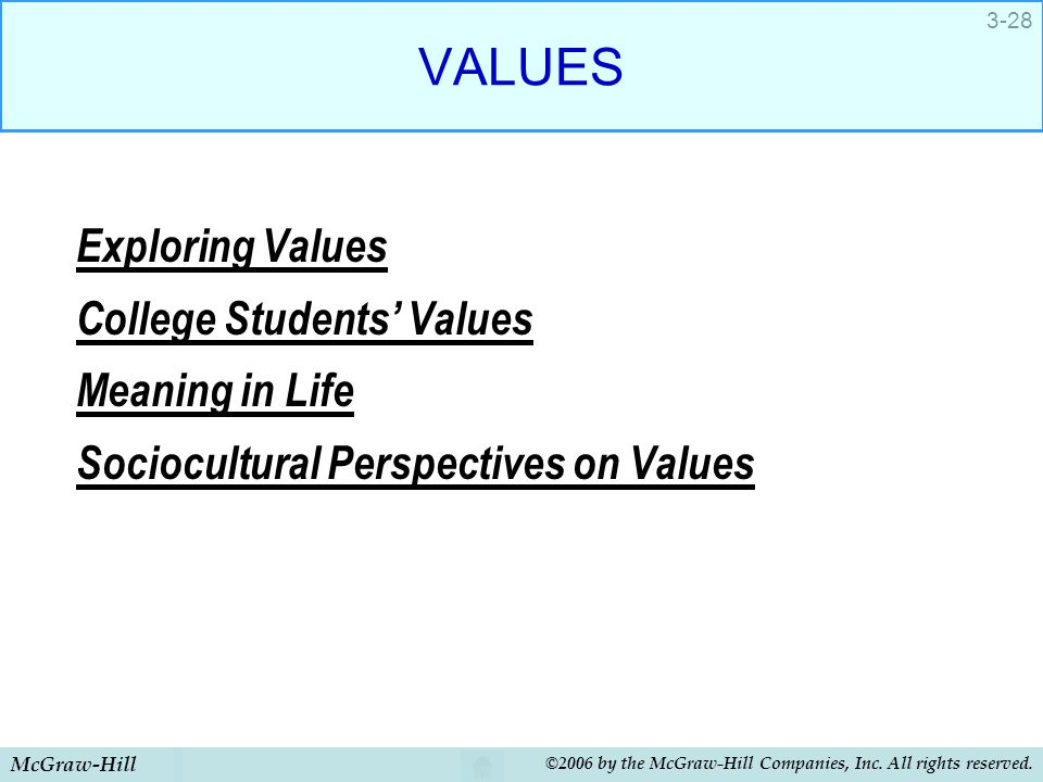 VALUES Exploring Values College Students' Values Meaning in Life