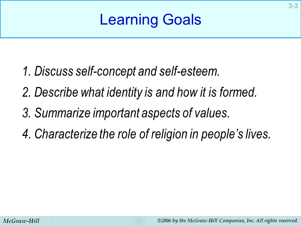Learning Goals 1. Discuss self-concept and self-esteem.