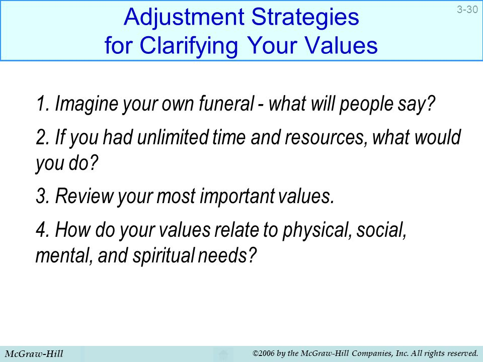 Adjustment Strategies for Clarifying Your Values