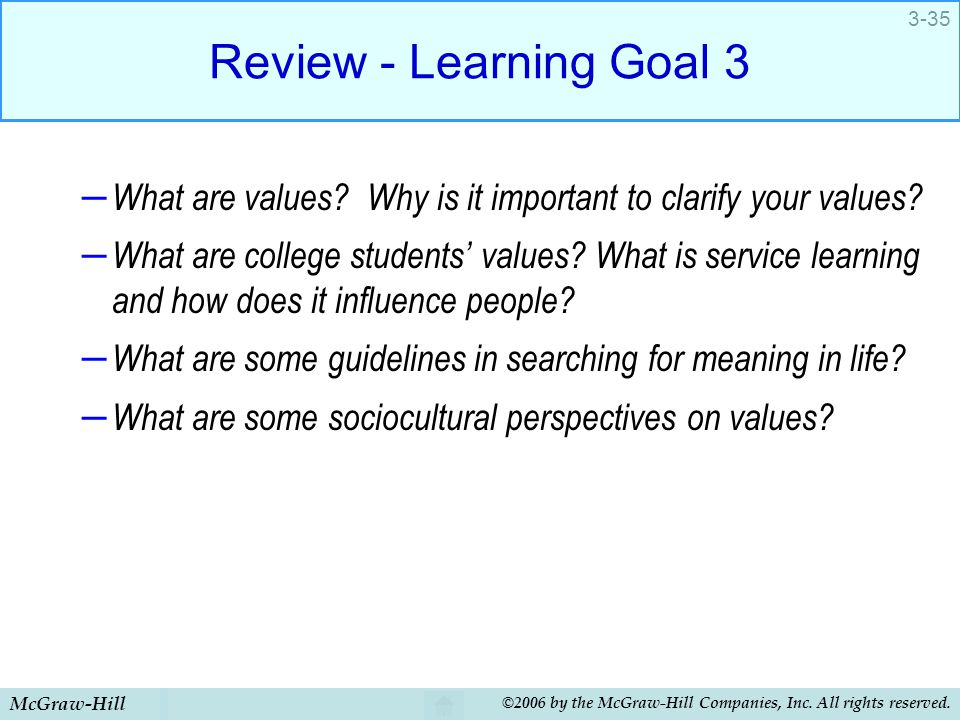 Review - Learning Goal 3 What are values Why is it important to clarify your values